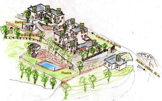 Plano del complejo de casas rurales Balcón de Válor